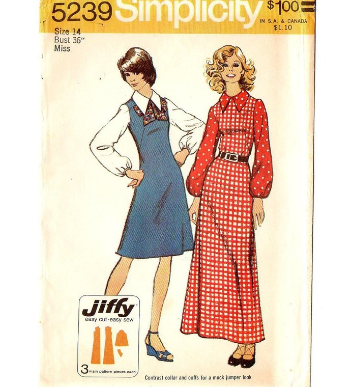 Simplicity 5239 Misses Maxi/Short Dress 70s Vintage Sewing Pattern Size 14 Bust