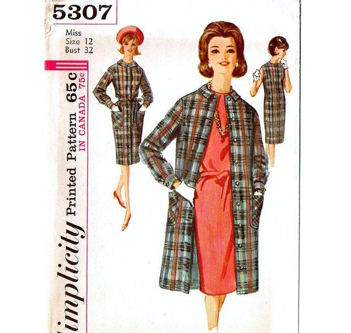 Simplicity 5307 Misses Dress, Coat 60s Vintage Sewing Pattern Size 12 Bust 32