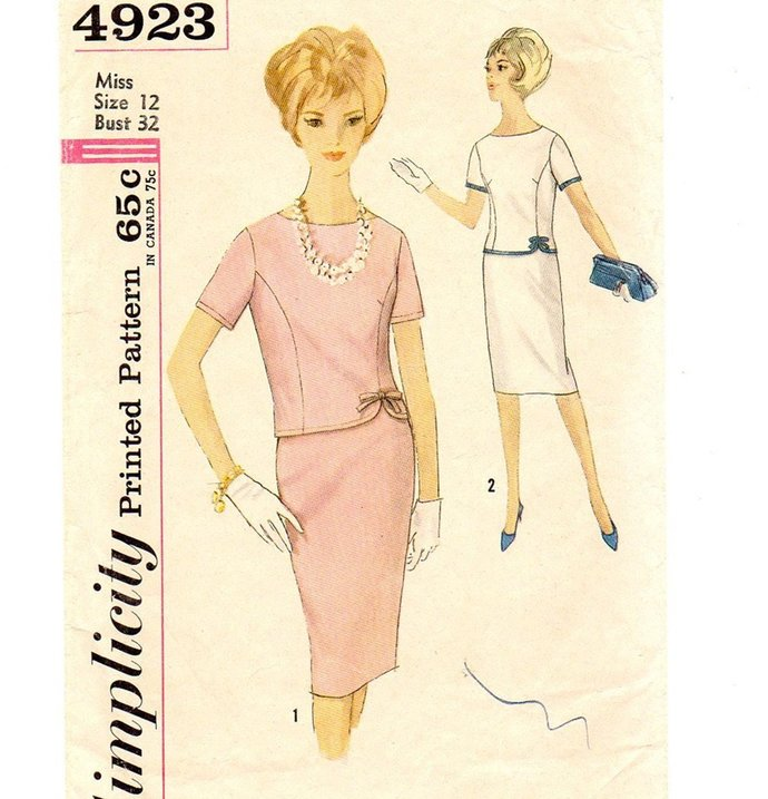 Simplicity 4923 Misses Two-Piece Dress 60s Vintage Sewing Pattern Size 12 Bust