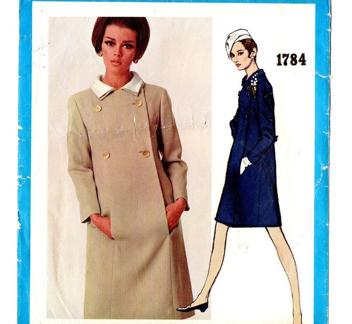Vogue 1784 Misses Coat Dress Chester Weinberg 60s Vintage Sewing Pattern Size 12