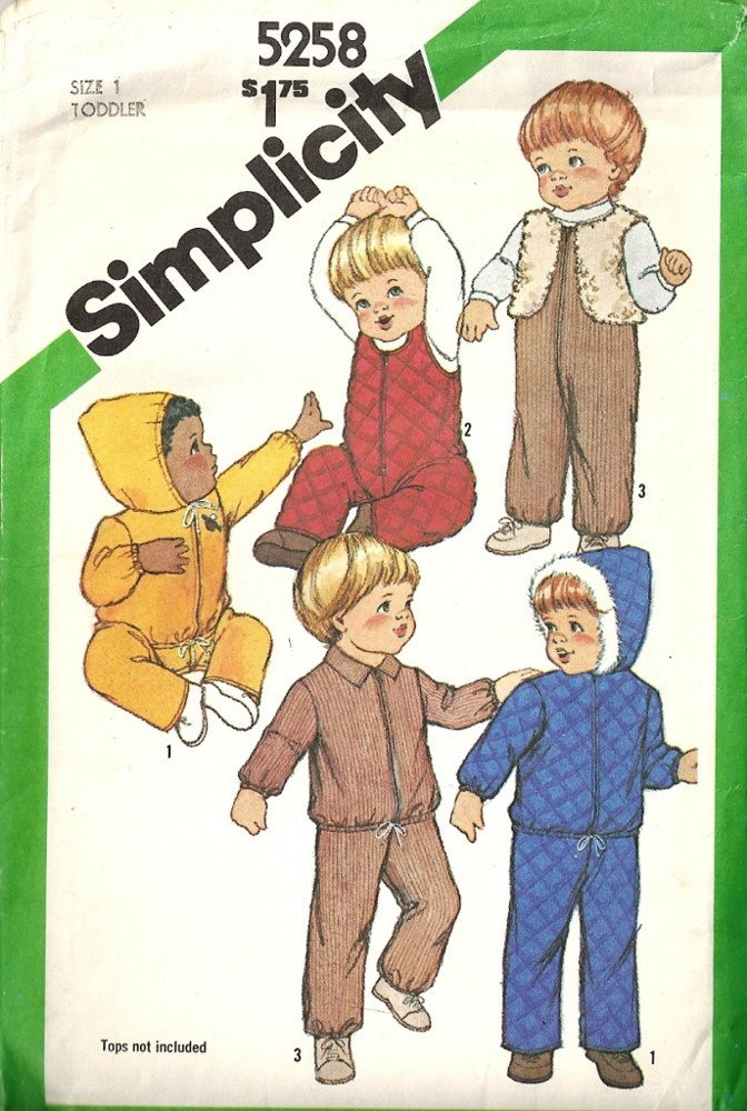 Simplicity 5258 Boys, Girls Hooded Jacket, Overalls, Vest 80s Vintage Sewing