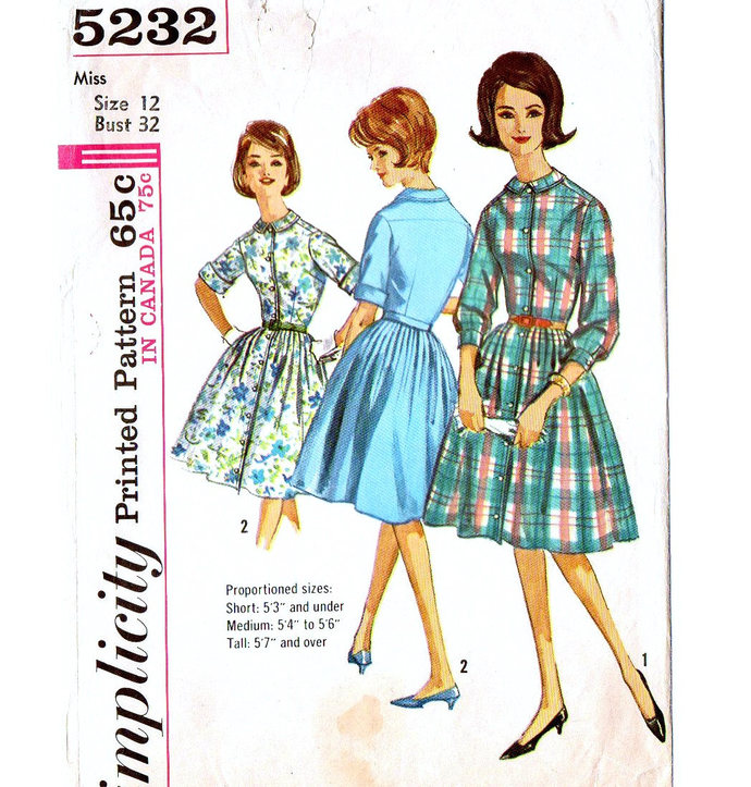Simplicity 5232 Misses Proportioned Shirtwaist Dress 60s Vintage Sewing Pattern