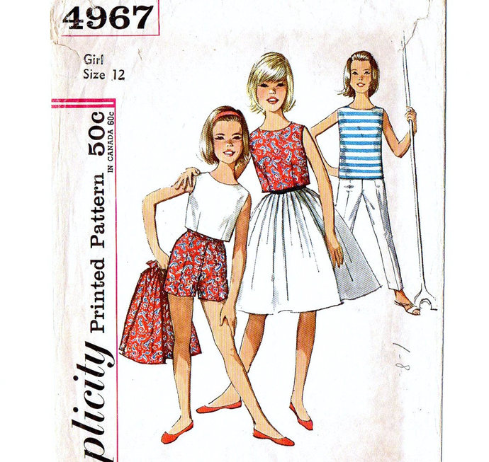Simplicity 4967 Girls Full Skirt, Blouse, Cropped Top, Pants, Shorts 60s Vintage