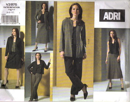 Vogue 2875 Adri Misses Jacket, Top, Skirt, Pants Sewing Pattern Size 6, 8, 10