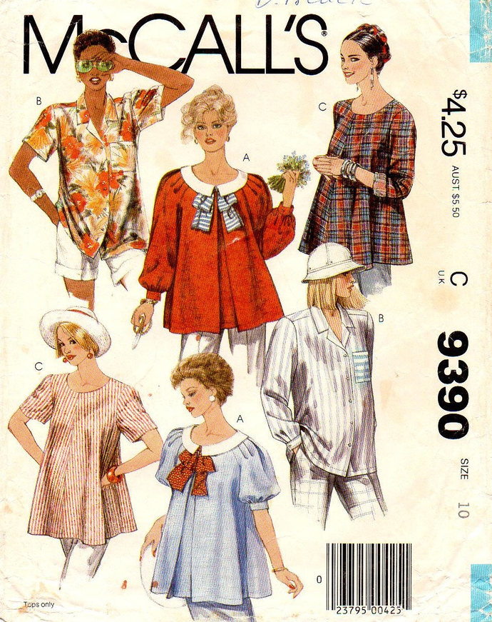 McCall's 9390 Misses Maternity Tops, Shirts 6 Views 80s Vintage Sewing Pattern