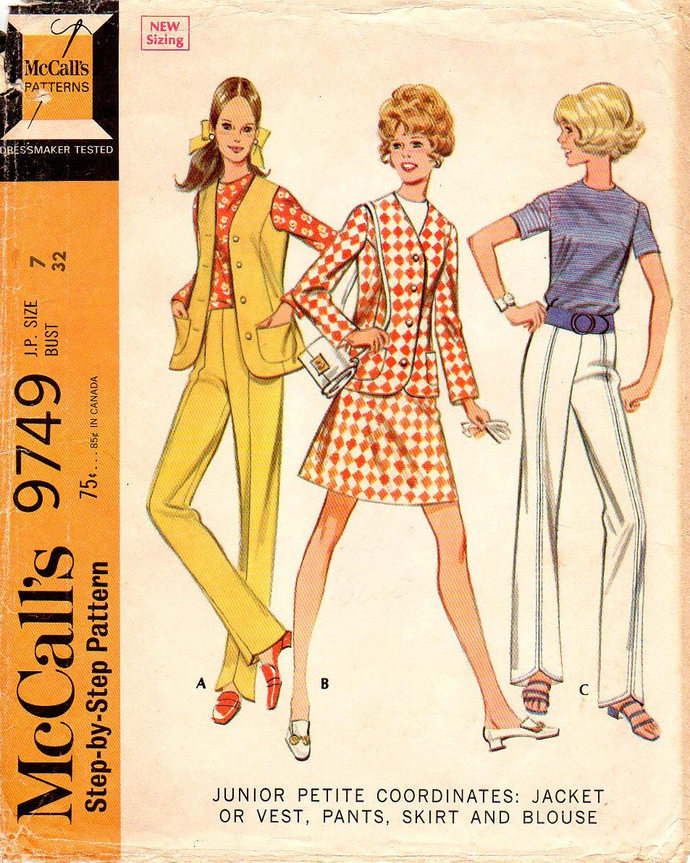 McCall's 9749 Miss Jacket, Vest, Pants, Skirt, Blouse 60s Vintage Sewing Pattern