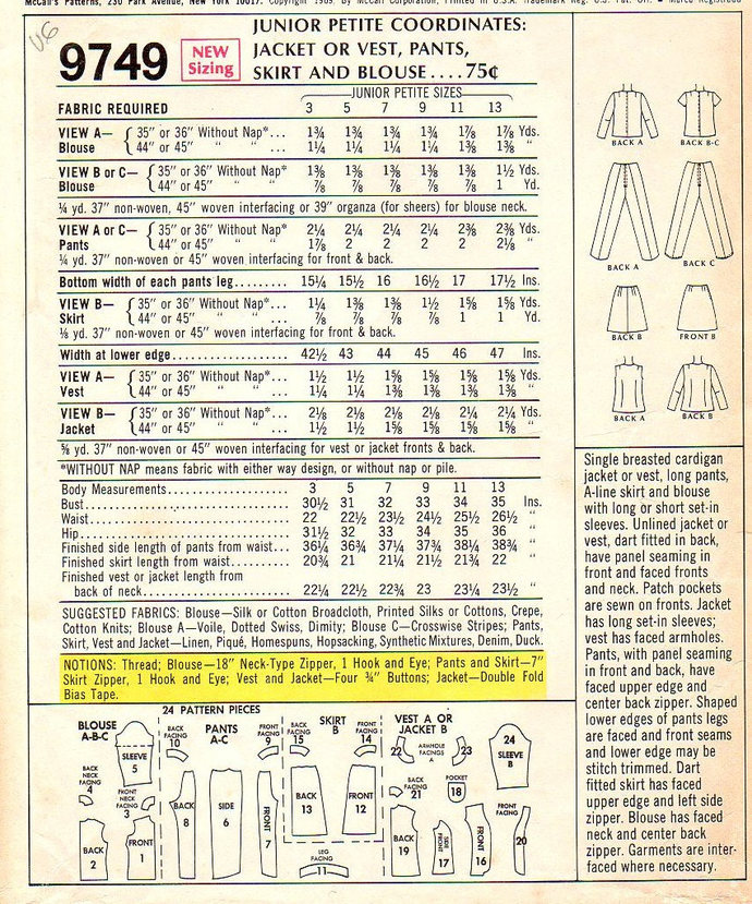 McCall's 9749 Miss Jacket, Vest, Pants, Skirt, Blouse 60s Vintage Sewing Pattern