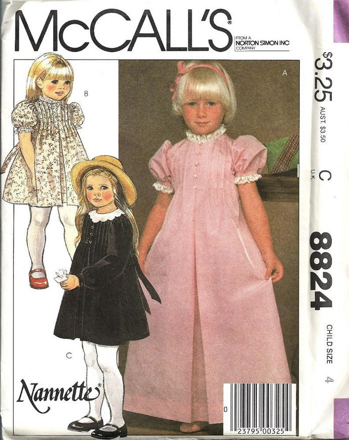 McCall's 8824 Girls Tucked Dress 80s Nannette Vintage Sewing Pattern Size 4