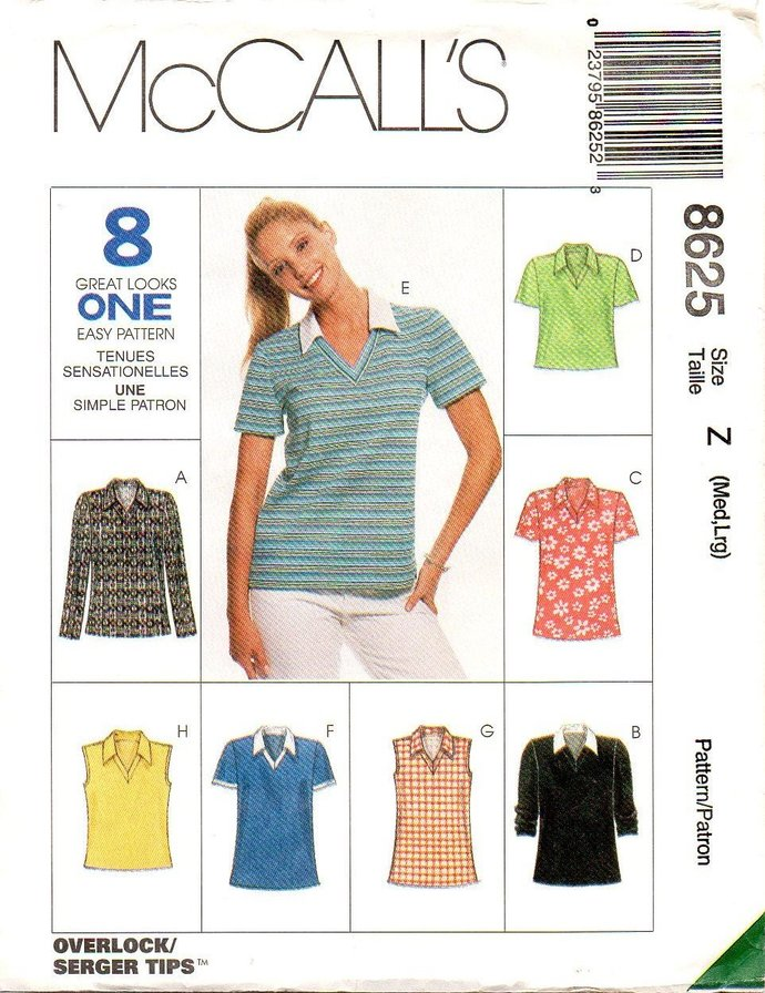 McCall's 8625 Misses Pullover Tops 90s Vintage Sewing Pattern Size Small 12 -