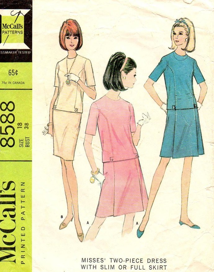 McCall's 8588 Misses 2 Piece Dress 60s Vintage Sewing Pattern Size 18 Bust 38