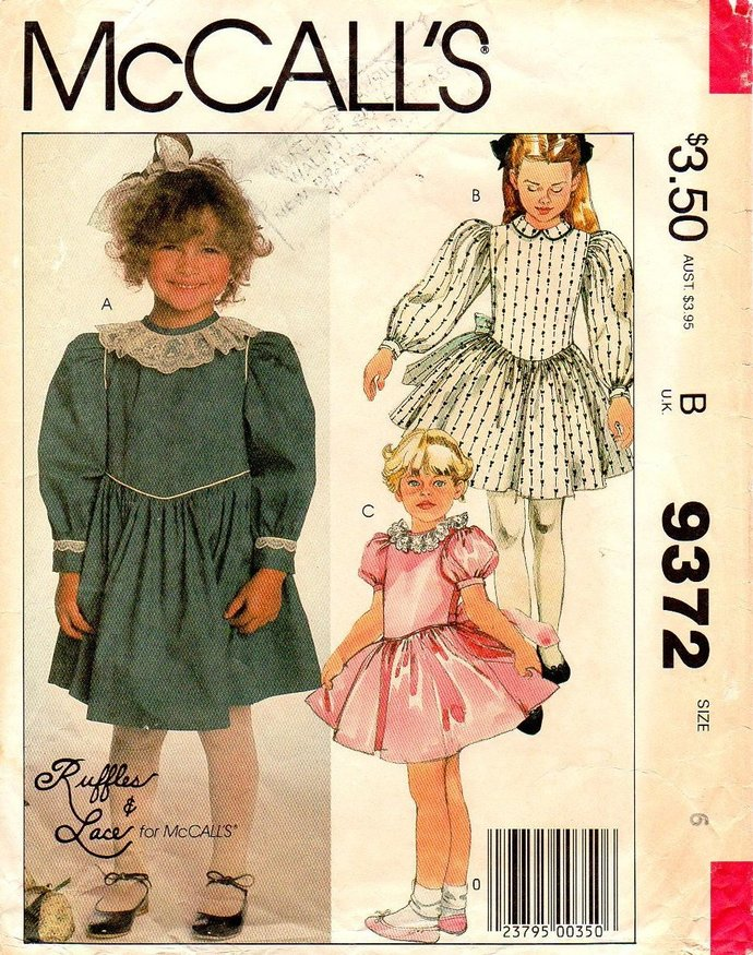 McCall's 9372 Girls Ruffles & Lace Dress 80s Vintage Sewing Pattern Size 6 Chest