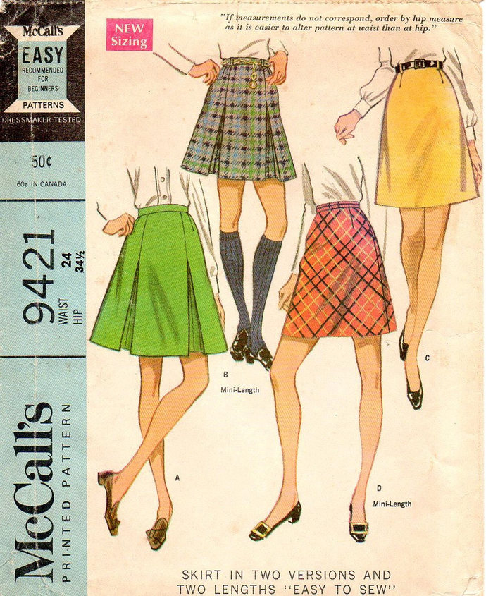 McCall's 9421 Misses Mini Skirts 60s Vintage Sewing Pattern Waist 24 Aline,