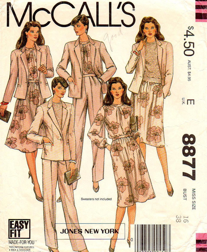 Misses/' Jacket Skirt and Pants Sewing Pattern Top Vintage 1980s Jones New York Career Wardrobe Pattern McCall/'s 8967 Size 8 Bust 31