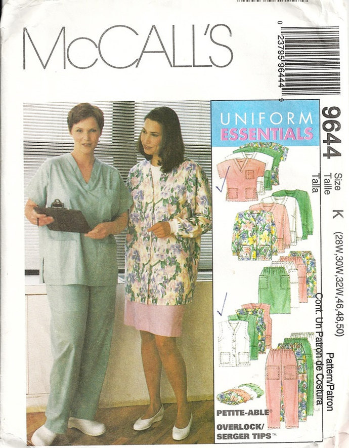 McCalls 9644 Womens Scrubs Sewing Pattern Medical Uniform Cardigan Vest Top