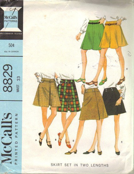 McCall's 8829 Teen Girl Skirts 60s Vintage Sewing Pattern Waist 23 Low Rise