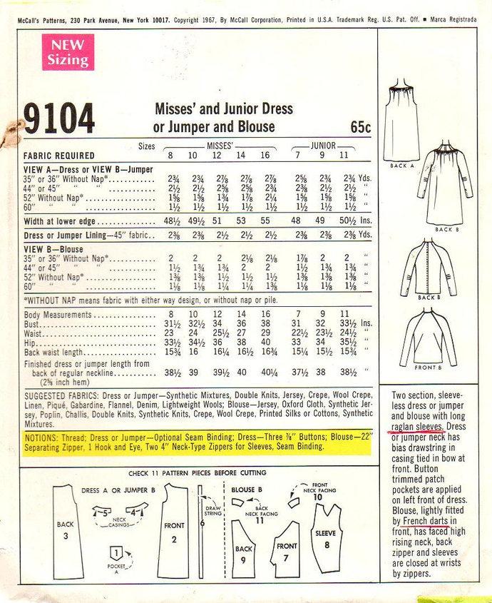 McCalls 9104 Misses Dress, Jumper, Blouse 60s Vintage Sewing Pattern  Size 7