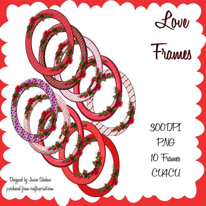 Valentine Love Frames Oval PNG Clipart