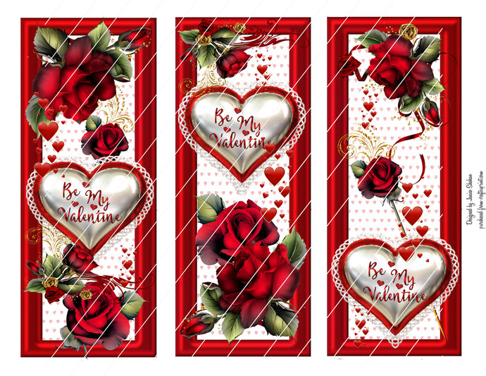Digital VALENTINE'S Day Bookmarks - Hearts and Roses