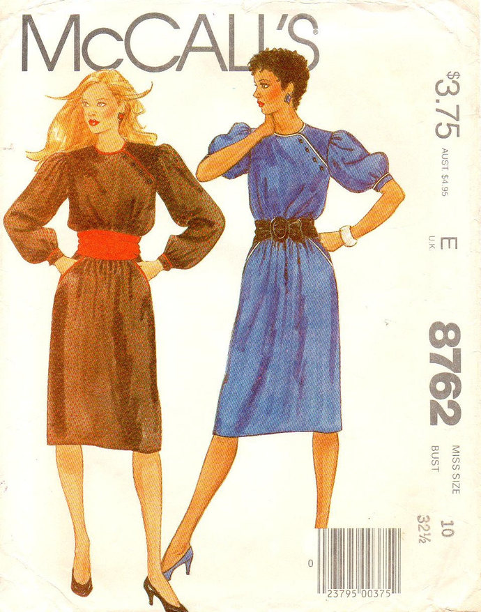 McCall's 8762 Misses Asymmetrical Dress 80s Vintage Sewing Pattern Size 10 Bust