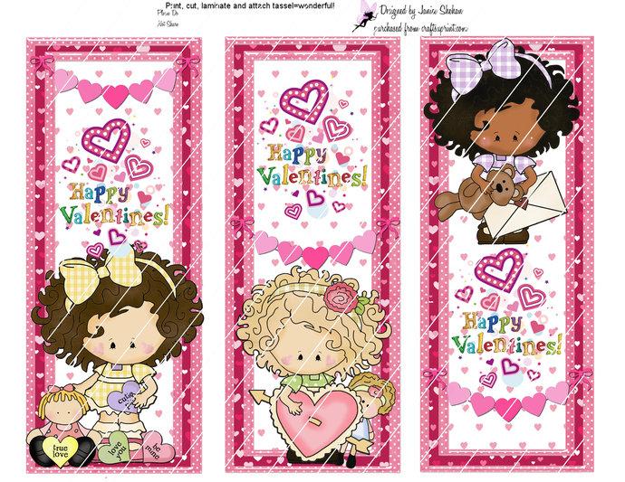 Digital VALENTINE'S Day Bookmarks - Girls