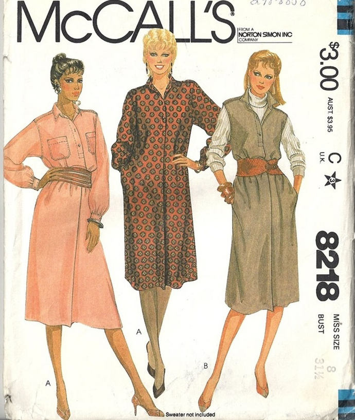 McCall's 8218 Misses Dress, Jumper 80s Vintage Sewing Pattern Size 8 Bust 31 1/2