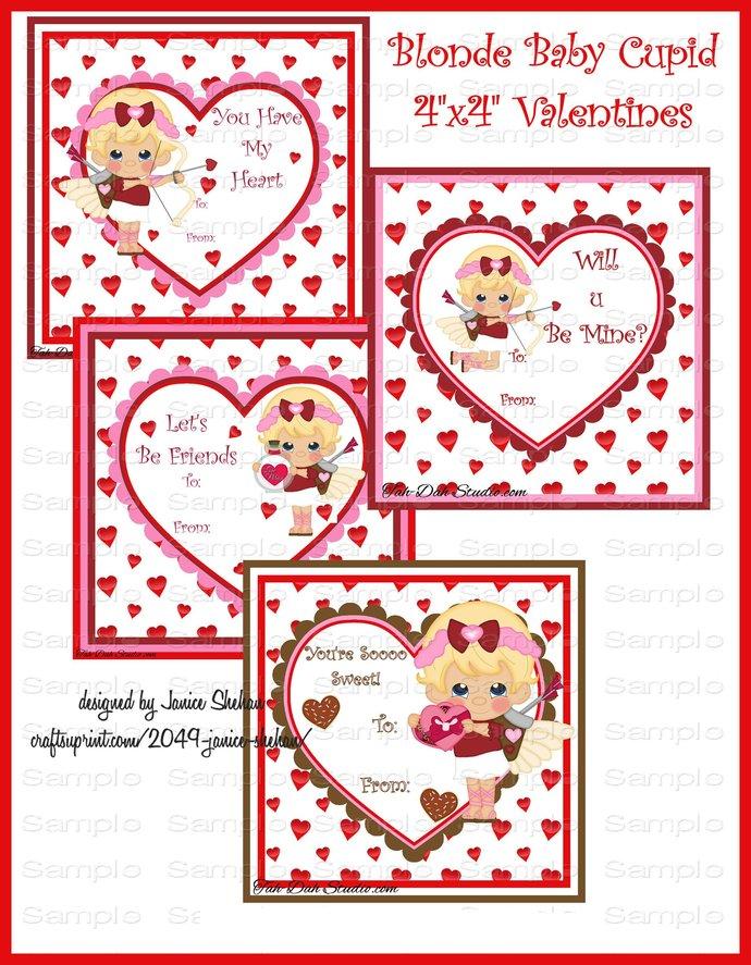 Personalized Blonde Cupid Girls- Classroom Valentine -Girl Boy Valentine