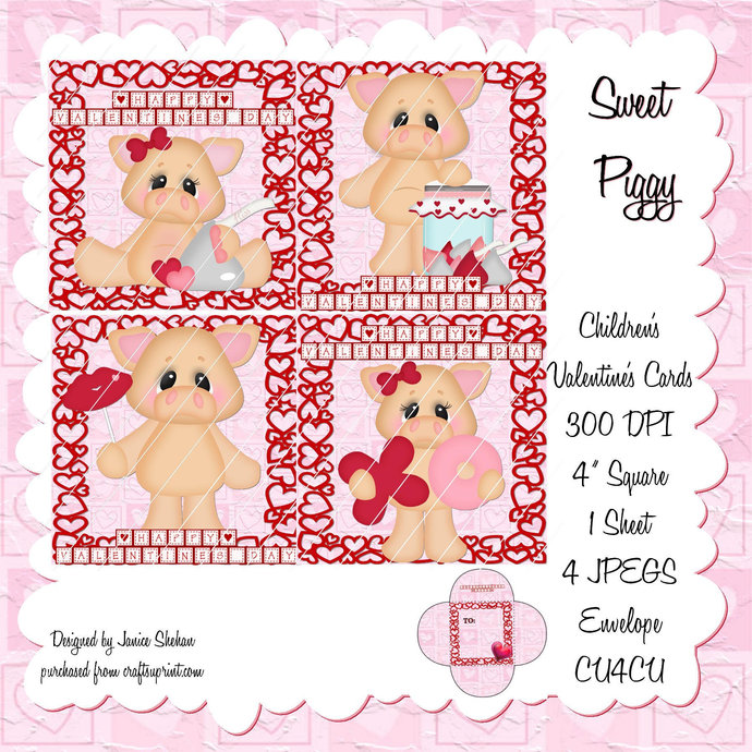 Personalized Piggy Pig- Classroom Valentine -Girl Boy Valentine -DIGITAL DESIGN