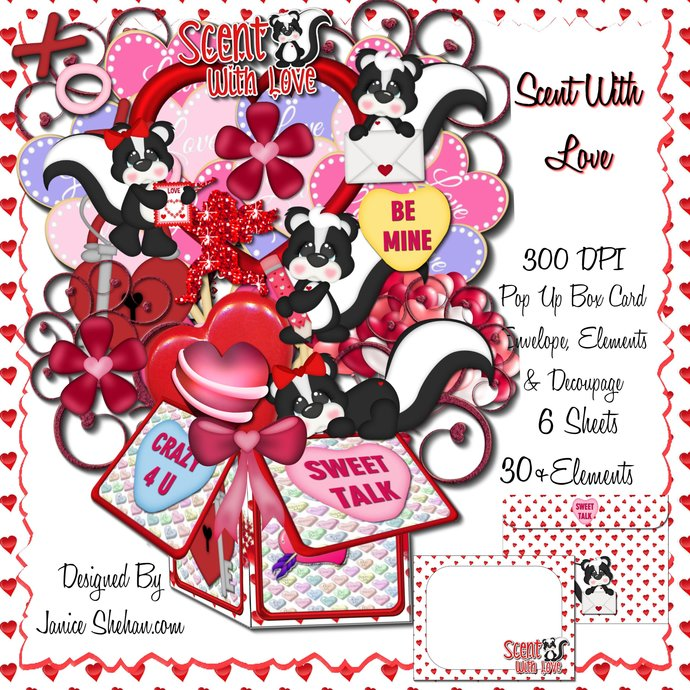 3D Digital Pop Up Box Card - Valentine's Day Scent With Love
