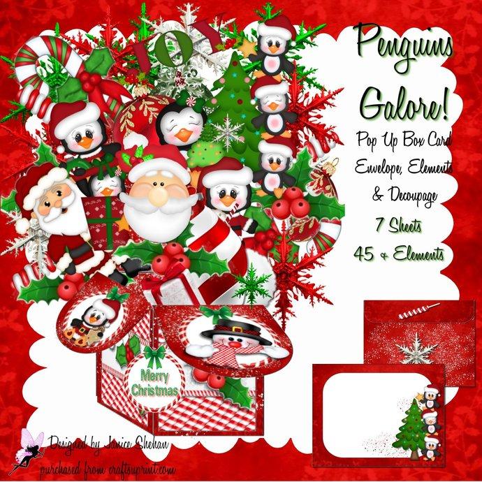 3D Digital Christmas Pop Up Box Card PENGUINS Galore