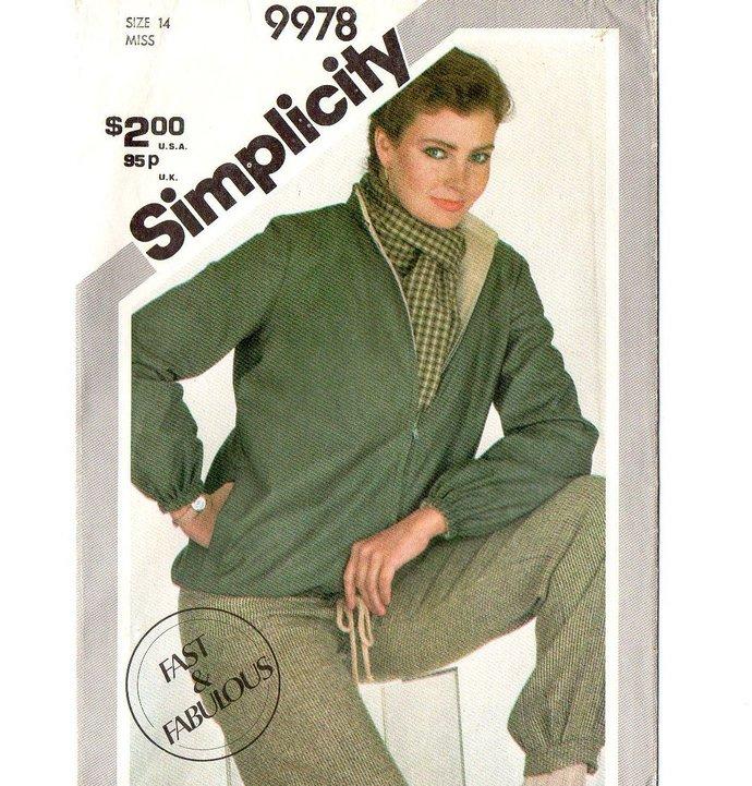 Simplicity 9978 Misses Zip Front Jacket 80s Vintage Sewing Pattern Uncut Size 14