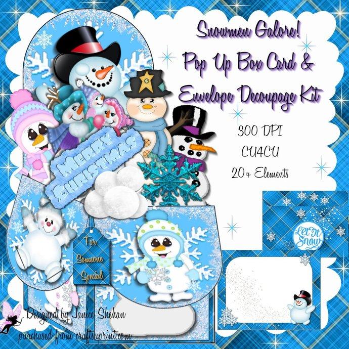 3D Digital Christmas Snowman Pop Up Box Card