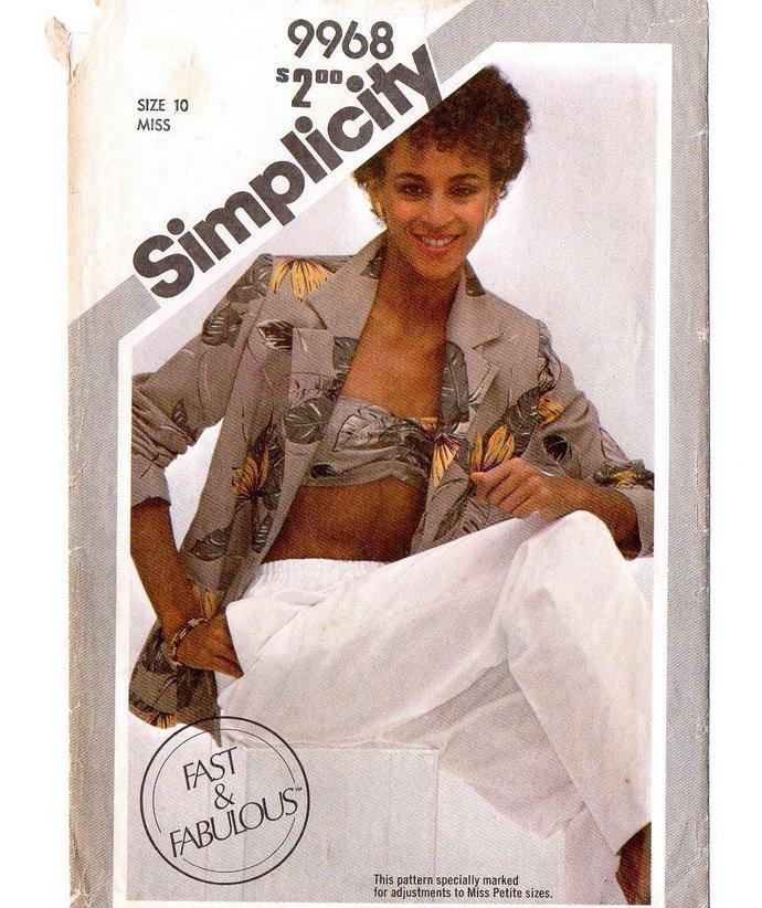 Simplicity 9968 Misses Bias Bandeau, Jacket, Pants 80s Vintage Sewing Pattern