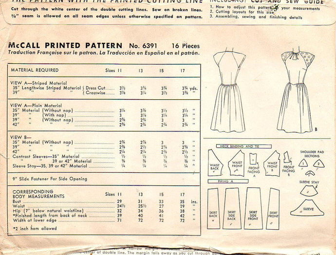 McCall 6391 Junior Miss Dress 40s Vintage Sewing Pattern Size 13 Bust 31 Teen