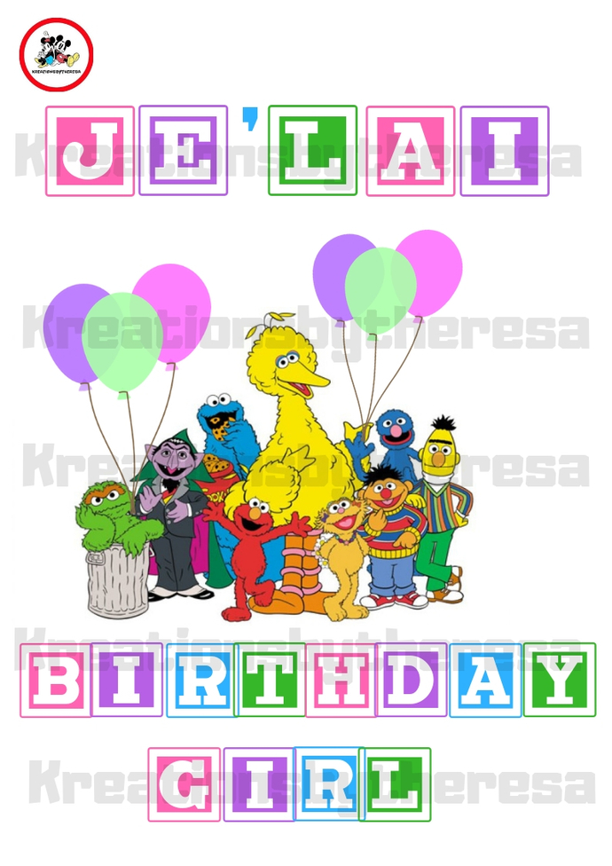 Sesame Street Birthday Girl iron On Transfer