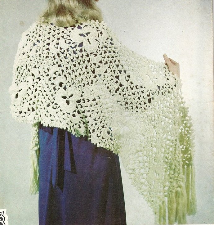 Lace Shawl  Vintage Crochet Pattern 1970's Merribee #2225 Women Wrap Accessory