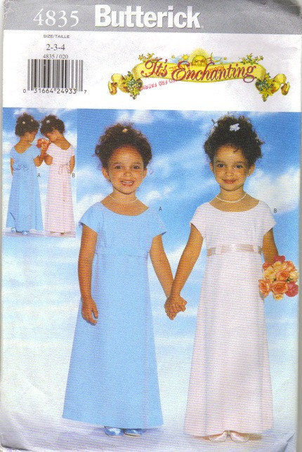 Butterick 4835 Girls Formal Dress 90s Vintage Sewing Pattern Size 2 Chest 21
