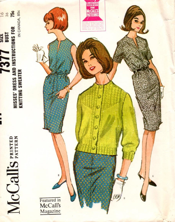 McCall's 7377 Misses Slim Sheath Dress 60s Vintage Sewing Pattern Size 16 Bust