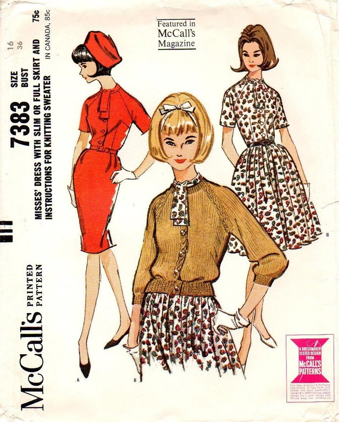 McCall's 7383 Misses Dress 2 Skirts Slim, Pleated  60s Vintage Sewing Pattern