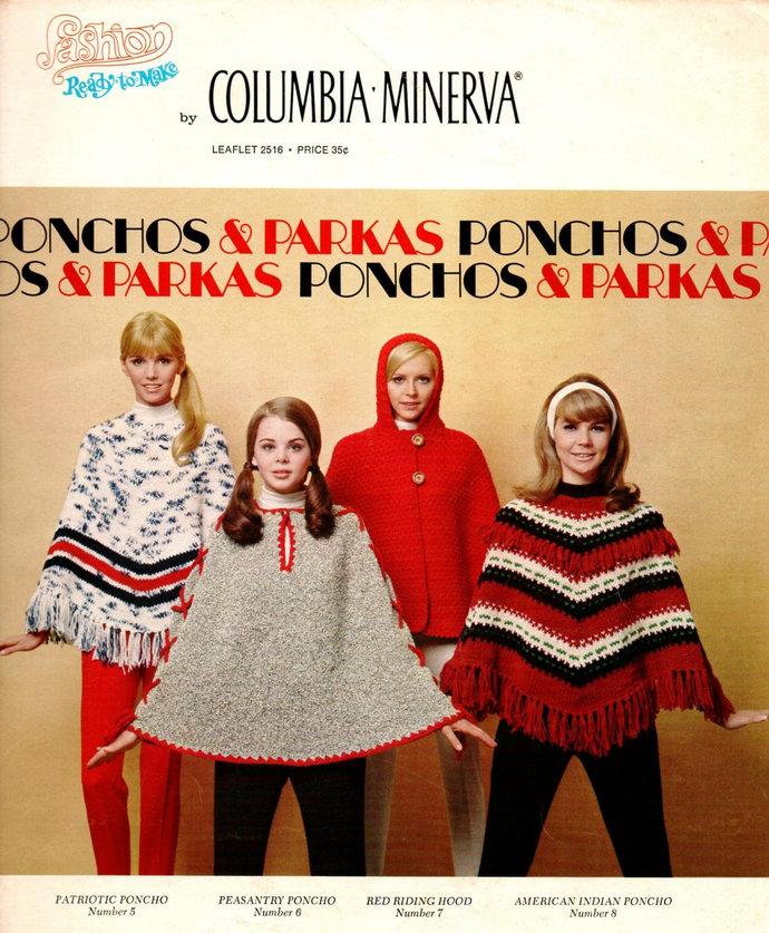 60's Ponchos & Parkas Knit Crochet Pattern Leaflet 2516 Columbia Minerva 8