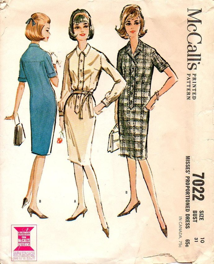 McCall's 7022 Misses Shirtwaist Dress 60s Vintage Sewing Pattern Size 10 Bust 31