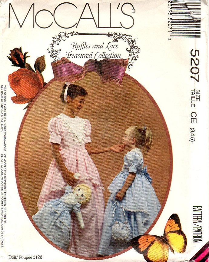 McCall's 5207 Girls Formal Dress, Gown Bag Sewing Pattern Size 3, 4, 5 Chest 22,