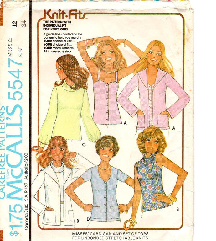 McCall's 5547 Misses Tops, Cardigan 70s Vintage Sewing Pattern Size 12 Bust 34