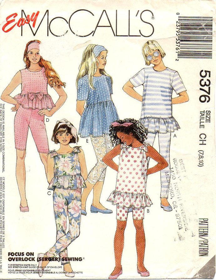 McCall's 5376 Girls Top, Leggings Vintage Sewing Pattern Size 7, 8, 10 Cropped