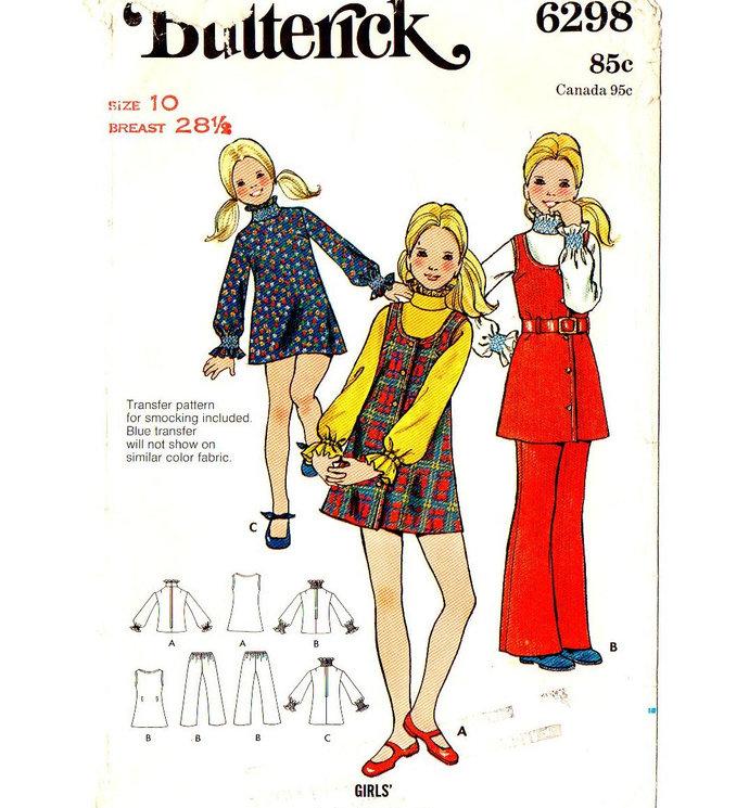 36be79c79127b Butterick 6298 Girls Jumper, Dress, Blouse, Pants 70s Vintage Sewing Pattern