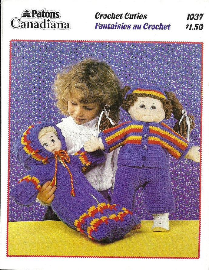 Cabbage Patch Doll Clothes Crochet Pattern Bunting, Top, Pants, Sun Visor Patons