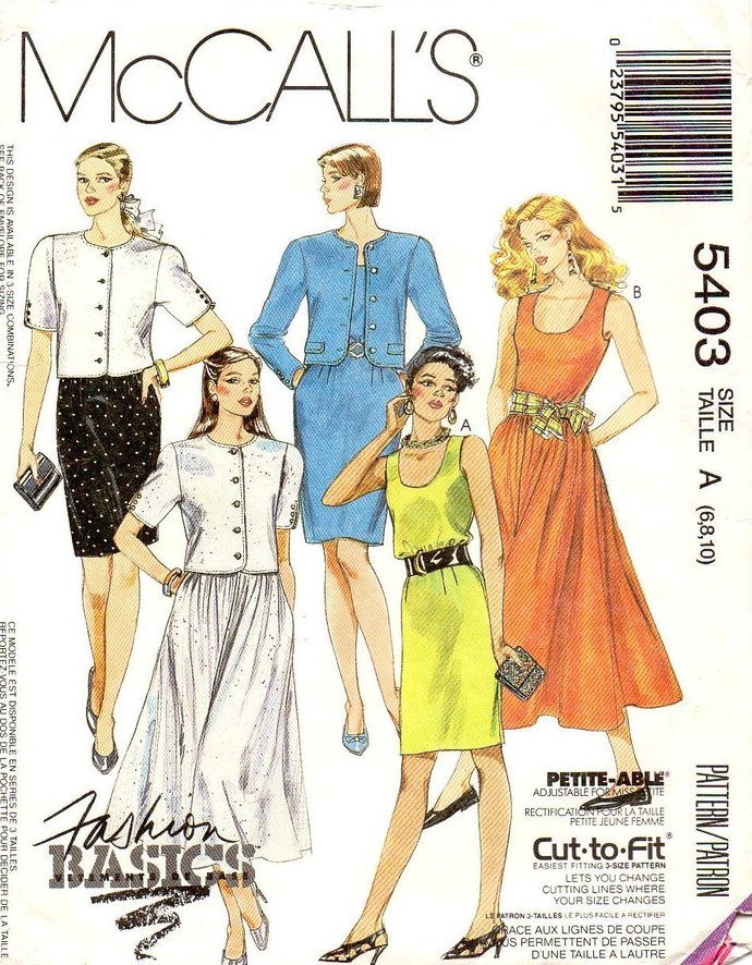 McCall's 5403 Misses Tank Dress, Short Jacket Vintage Sewing Pattern Size 6, 8,