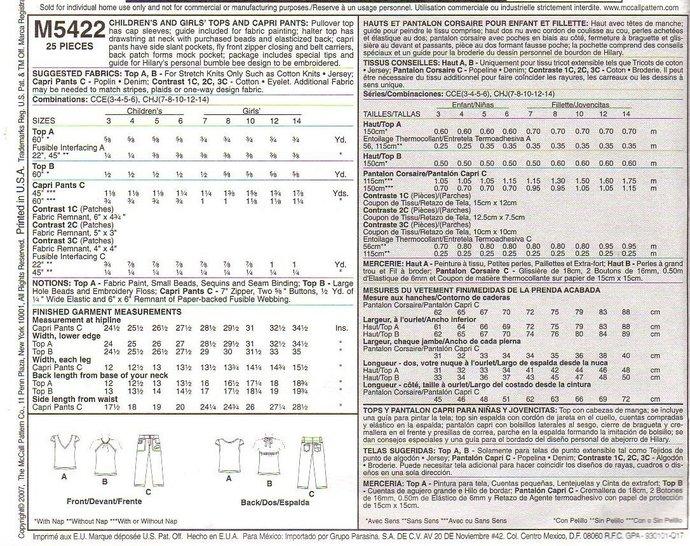 McCall's 5422 Girls Halter Top, Shirt, Capri Pants Sewing Pattern Size 3, 4, 5,