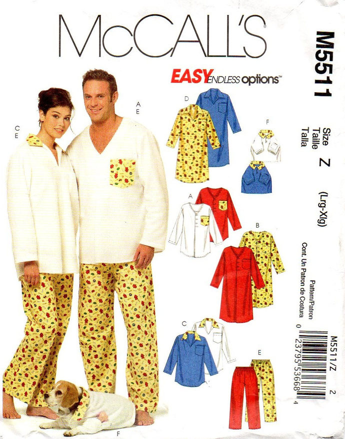 McCall's 5511 Men, Misses Pajamas Nightshirt Sewing Pattern Size Lg, Xlg Dog