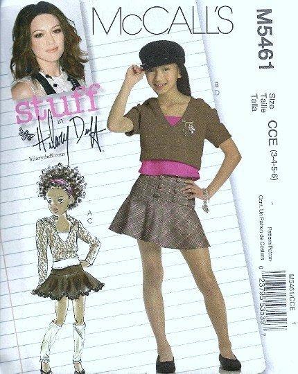 McCall's 5461 Girls Hoodie Top, Mini Skirt Sewing Pattern Size 3, 4, 5, 6 Uncut