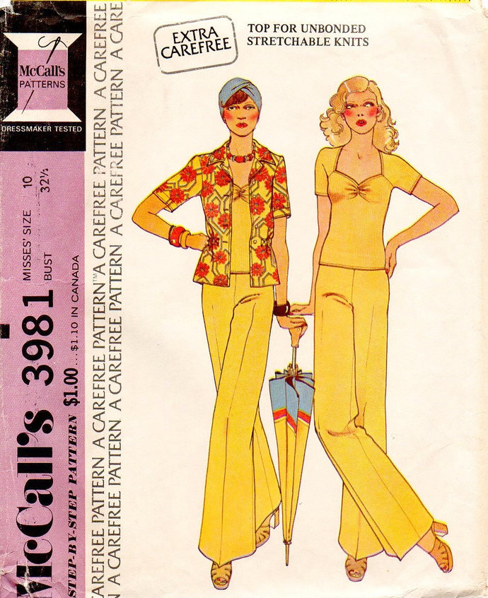 McCall's 3981 Misses 70s Shirt, Top, Pants Sewing Pattern Size 10 Bust 32 1/2
